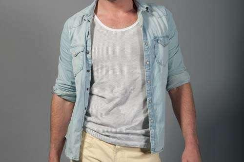 Fashion Man Wearing  Denim Shirt and White Striped Vest