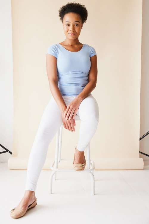 Female Model In Blue And White Photo