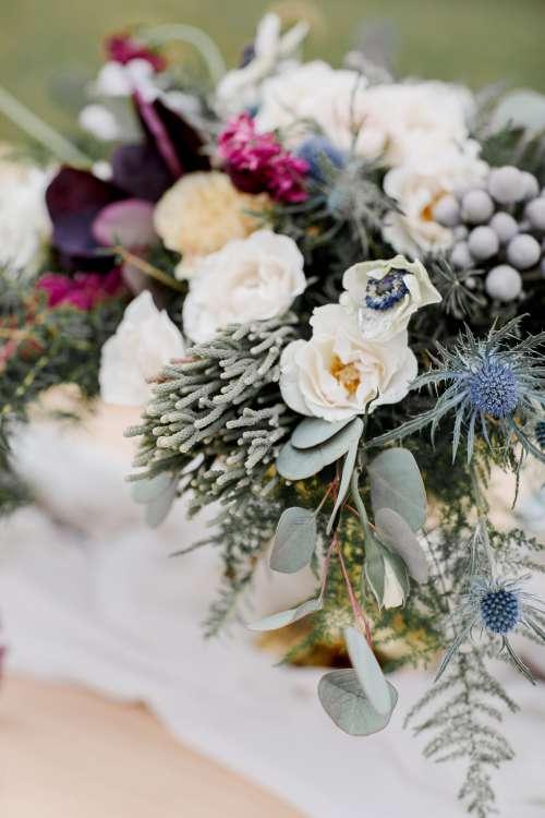 Seasonal Wedding Bouquet Close Up Photo
