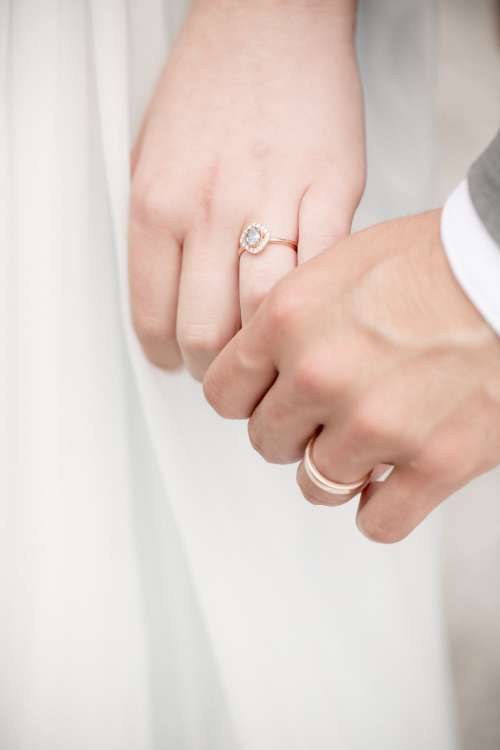 Newly Weds Hold Hands Close Up Photo
