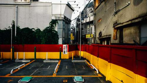 Red And Yellow Japanese Parking Lot Photo