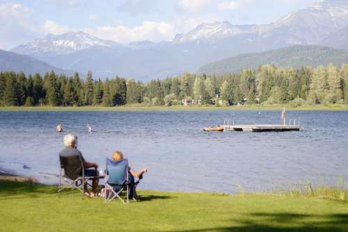 Couple Sit By The Lake And Enjoy The View Photo