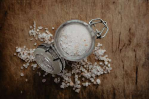 Himalayan salt in a glass container