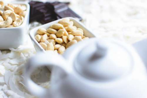 Blanched almonds in a ceramic bowl