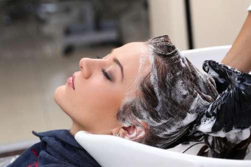 Beauty treatment, hairs washing at salon