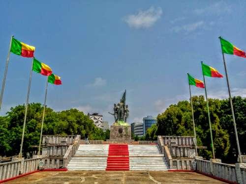 public place, monument, statue, landscape, Benin, flags, sculpture, memorial