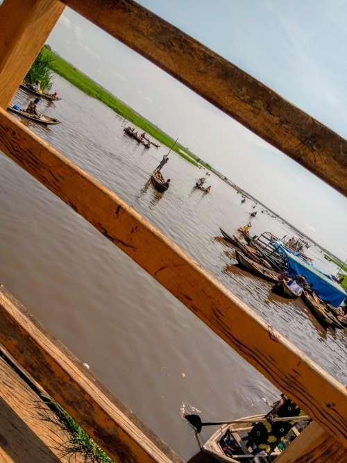 travel, transport, landscape, canoes, river, lake, boats