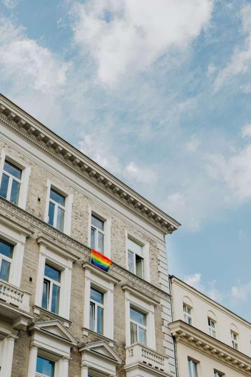 LGBT flag hanging on the building