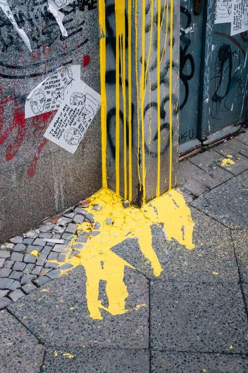 Yellow Paint Runs Down The Wall Photo