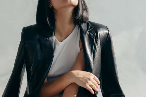 Close Up Leather Jacket Over Shoulders Photo