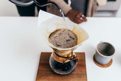 Top Down View Pour Over Coffee Photo