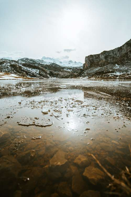 Icy Lake And Frozen Mountains Behind Photo