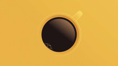 Coffee Cup - Top View - Colorful Illustration