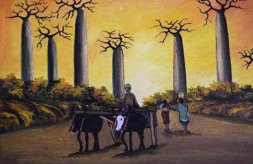 forest, trees, animals, women, oxen, sunset, nature, landscape, passengers