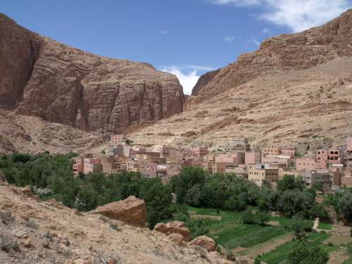 mountain, plain, valley, house, desert, arides, tree, soil, city, bush, drought, landscape