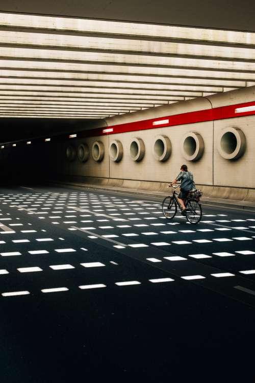 Biking Through An Underground Structure Photo