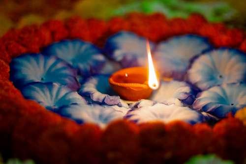 Diya Lamp Arranged For Diwali Photo