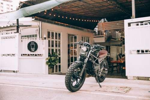 Motorbike Outside A Cafe Photo