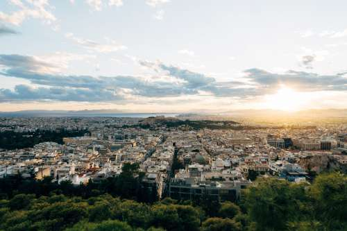 Sunsets In An Aerial View Of A Busy City Photo