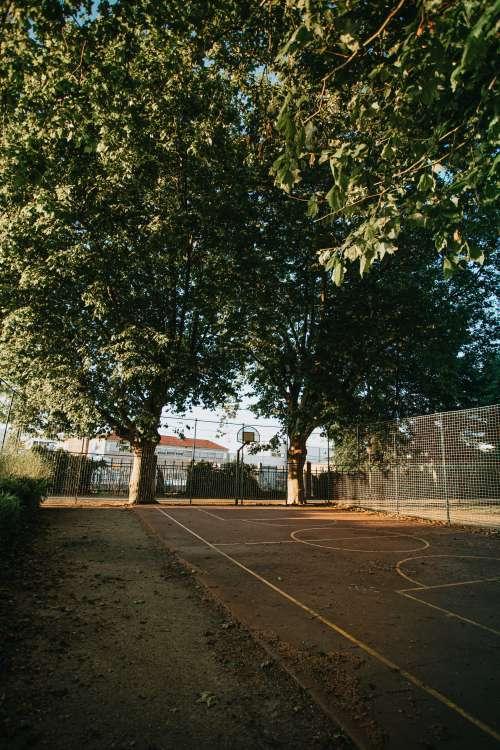 A Basketball Court Outdoors Photo