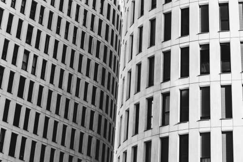 Curved Buildings Meeting In The Middle Photo