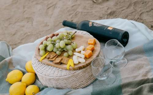 Wine And Cheese Picnic On The Beach Photo