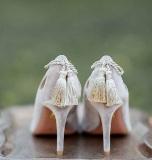 Fashionable High Heels With Hanging Tassels Photo