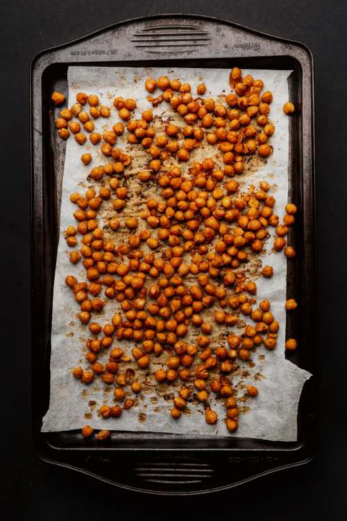 A Tray Of Roasted Chickpeas Photo