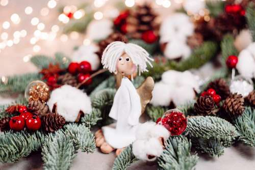 Christmas spruce decoration with an angel