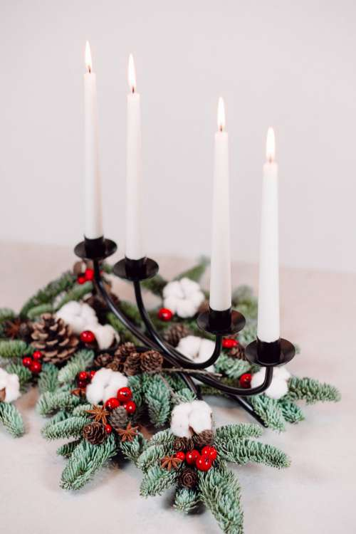 Christmas spruce decoration with candles 4