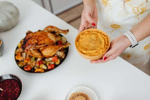 Preparing a Thanksgiving dinner - festive meal