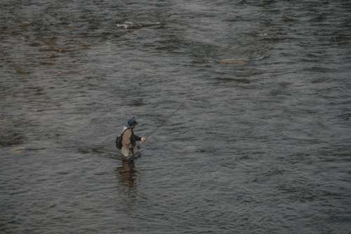 Person Fly Fishing Viewed From Above Photo