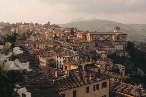 City View Of Terracotta Rooftops And Rolling Hills Photo