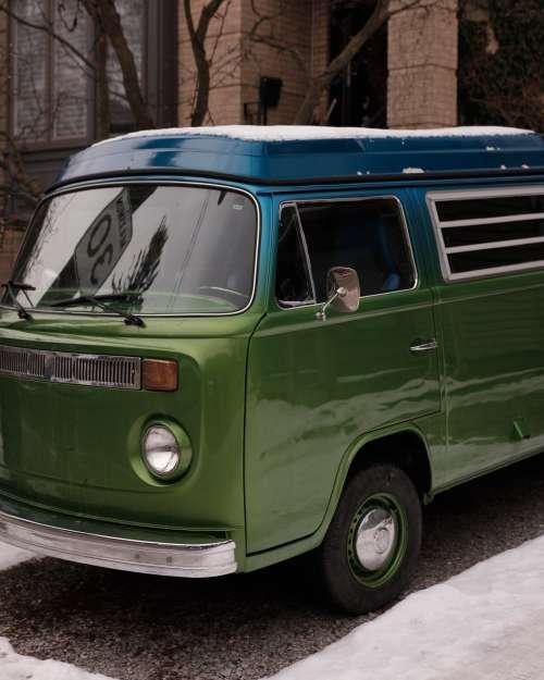 Vintage Blue And Green Camper Van Parked Photo