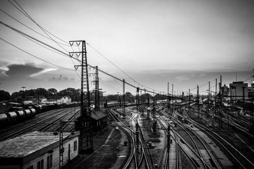 Black And White Photo Of Train Tracks Photo