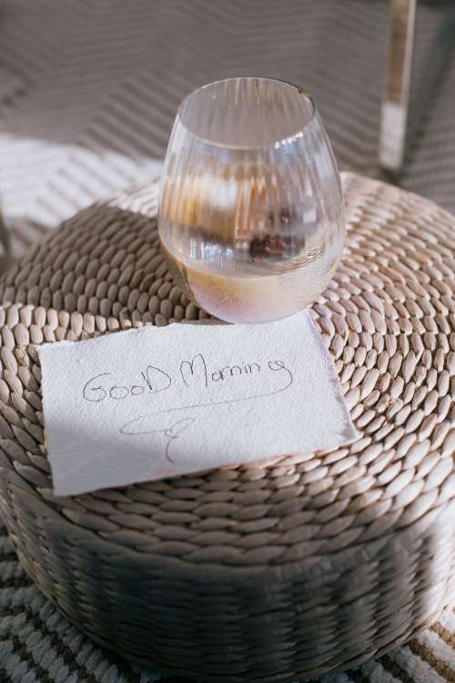 Good Morning Note On A Weaved Surface Photo