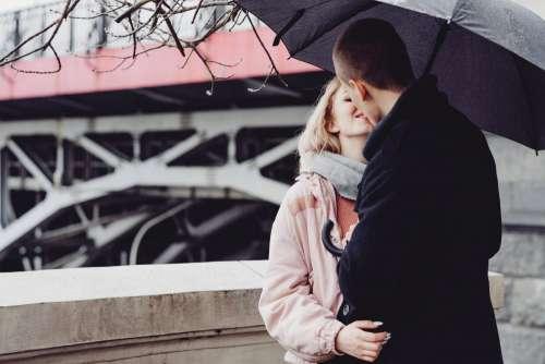 A couple kissing under an umbrella 3