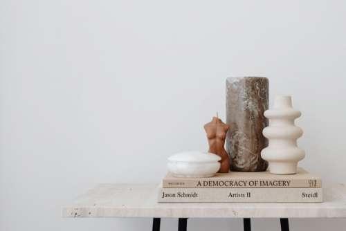 Beige aesthetics still life on travertine table