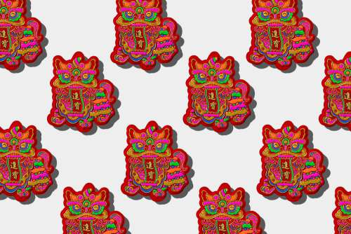 Colorful Dragon Illustration In A Repeat Pattern Photo