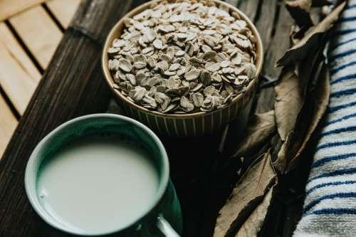 Bowl Of Dry Oats And A Mug Of Tea Photo