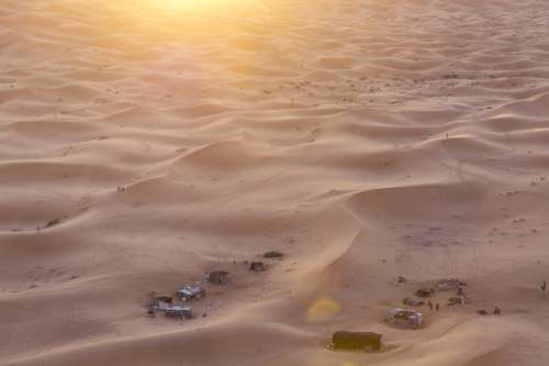 Aerial Photography Of Buildings In The Desert Photo