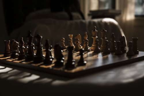 Wooden Chess Set Bathed In Warm Window Light Photo