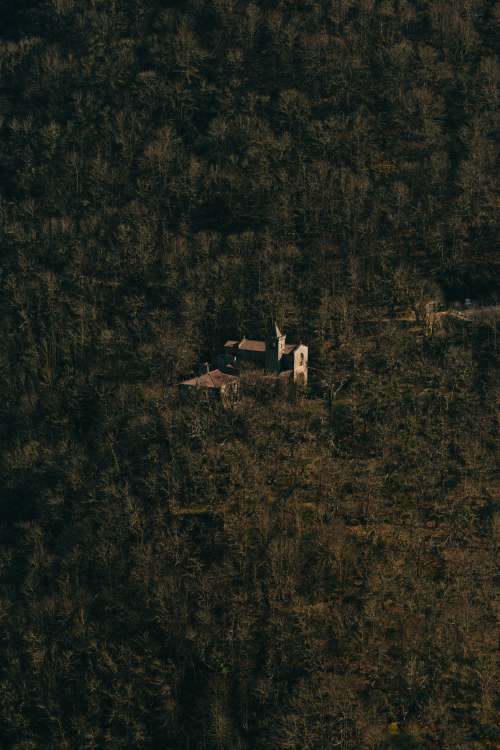 Aerial Photo Of A Building Sitting Within A Dense Forest Photo