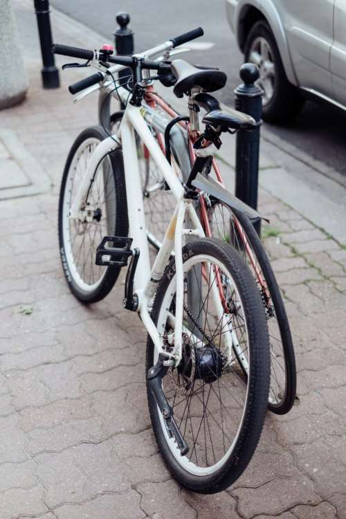 Bicycles attached to a bike rack
