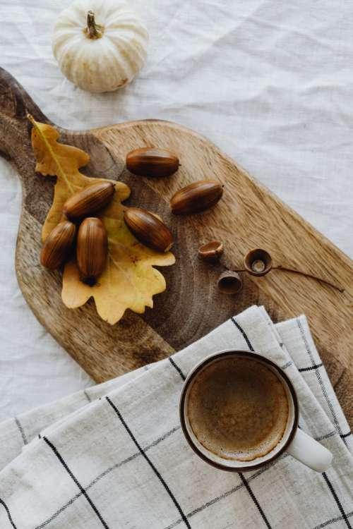 Autumn coffee - pumpkins - acorns - oak leaves